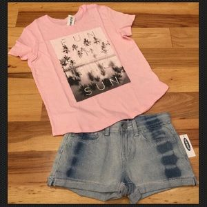 Old Navy 8 or 10 Pink Tropical Top & Denim Shorts